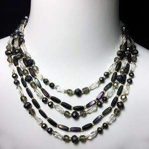 Vintage 50s Oil Slick Art Glass 5 strand Necklace
